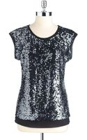 Calvin Klein Sleeveless Sequin Shell - Lyst