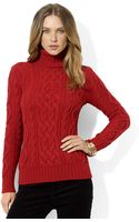 Lauren by Ralph Lauren Petites Cableknit Turtleneck Sweater - Lyst