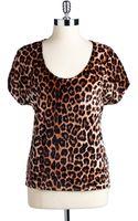 Lucky Brand Leopard Print Velvet Top - Lyst