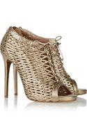 Tabitha Simmons Faiza Metallic Woven Leather Ankle Boots - Lyst