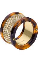 Michael Kors Pave Barrel Ring Golden - Lyst
