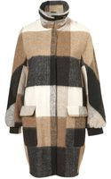 Topshop Hairy Check Funnel Coat - Lyst