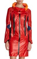 Junya Watanabe Puff Collar Zip Front Fitted Coat - Lyst