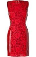Valentino Barolo Leather Lace Dress - Lyst