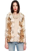 Michael by Michael Kors Hooded Patchwork Fox Vest - Lyst