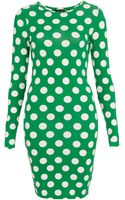 Topshop Polka Dot Bodycon Dress - Lyst