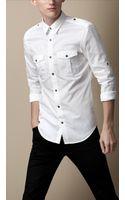 Burberry Cotton Poplin Military Shirt - Lyst