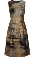 Lela Rose Metallic Jacquard Dress - Lyst