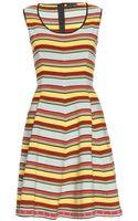 Fendi Flared Contrast Knit Dress - Lyst