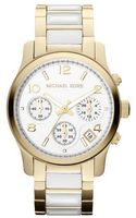 Michael Kors Midsize Goldenwhite Acetate Runway Chronograph Watch - Lyst