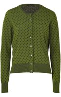 Paul Smith Black Label Forest Green-navy Dotted Cardigan - Lyst