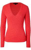 Ralph Lauren Black Cashmere Cable Knit V-neck Pullover - Lyst