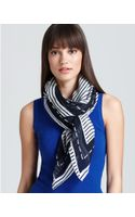 Tory Burch Stripe Stacked Logo Square Scarf - Lyst