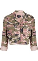 Topshop Pink Camo Cropped Jacket - Lyst