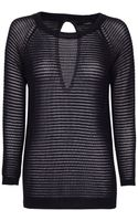 Mango Striped Openwork Sweater - Lyst