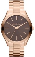 Michael Kors Midsize Rose Golden Stainless Steel Slim Runway Threehand Watch - Lyst