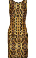 Oscar De La Renta For The Outnet Leopard-print Silk-blend Dress - Lyst