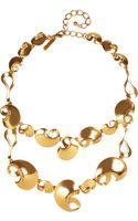 Oscar de la Renta Gold Plated Bib Necklace - Lyst