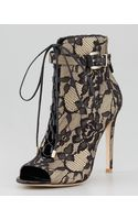 B Brian Atwood Lindaford2 Floral Lace Peeptoe Bootie - Lyst