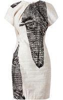Acne Studios Crocodile Printed Linenblend Dress - Lyst