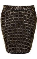 Topshop Premium Grid Embellished Skirt - Lyst