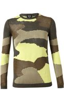 McQ by Alexander McQueen Camouflage Knitted Cotton Blend Jumper - Lyst