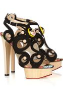 Charlotte Olympia Anastasia Suede and Wooden Sandals - Lyst