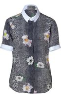 Preen By Thorton Bregazzi Navymulti Stingray-flower Print Silk Jean Shirt - Lyst