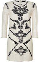 Maje Embroidered Lace Dress in Ecru - Lyst