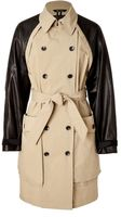 Rag & Bone Khaki Bishop Trench Coat with Leather Sleeves - Lyst