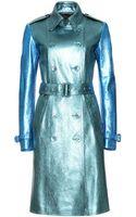 Burberry Prorsum Metallic Leather Trench Coat - Lyst