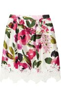 Dolce & Gabbana Lace Trimmed Floral Print Silk Skirt - Lyst