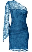 Emilio Pucci One Shoulder Lace Overlay Dress in Ocean - Lyst