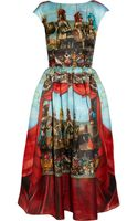 Dolce & Gabbana Printed Silk-Organza Midi Dress - Lyst