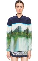 Matthew Williamson Landscape Silk Blouse in Ink - Lyst