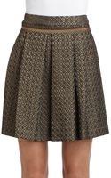 Philosophy di Alberta Ferretti Pleated Metallic Brocade Skirt - Lyst