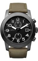 Marc By Marc Jacobs Black Matte Dial Green Leather Strap Watch - Lyst