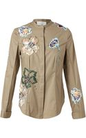3.1 Phillip Lim Cotton Shirt with Floral Embroidery - Lyst