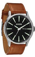 Nixon The Sentry Leather Watch in Black Saddle - Lyst