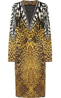 Roberto Cavalli Animalprint Stretch satin Dress - Lyst