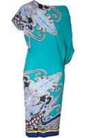 Etro Paisley Print Jersey Asymmetrical Sleeve Dress - Lyst