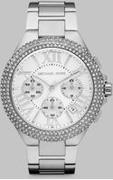 Michael Kors Crystal Accented Stainless Steel Chronograph Watchsilvertone - Lyst