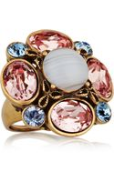 Oscar de la Renta Goldplated Crystal Cluster Ring - Lyst