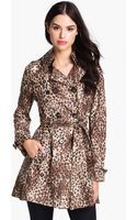 Betsey Johnson Laceup Back Print Trench Coat - Lyst