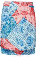 Topshop Oriental Zip Pencil Skirt - Lyst