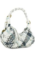 Fontanelli Blue  White Woven Leather Eastwest Hobo Bag - Lyst
