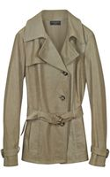 Forzieri Beige Leather Trench Coat - Lyst