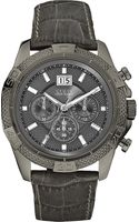 Guess Stainless Steel and Leather Chronograph Watch Grey - Lyst