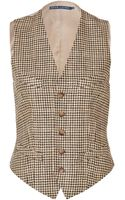 Ralph Lauren Linen Riding Bartley Vest in Guncheck Multi - Lyst