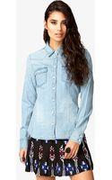 Forever 21 Western style Denim Shirt - Lyst